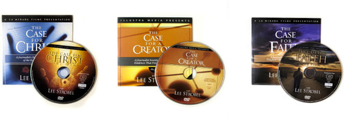LEE STROBEL BEST SELLING SERIES - 5 EACH OF CASE FOR CHRIST, CASE FOR CREATOR, CASE FOR FAITH AND THE JESUS FILM - PLUS BONUS 25 FREE JESUS FILM GIFT CARDS