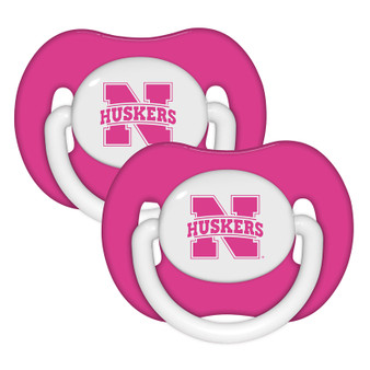 Nebraska Pink Pacifier with Handle - 2-Pack