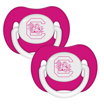 South Carolina Pink Pacifier with Handle - 2-Pack