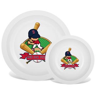 Boston Red Sox White Plate & Bowl Set