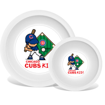 Chicago Cubs White Plate & Bowl Set