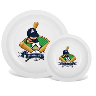New York Yankees White Plate & Bowl Set