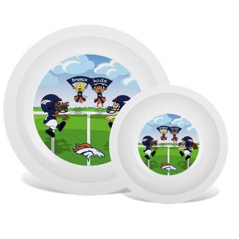 Denver Broncos White Plate & Bowl Set