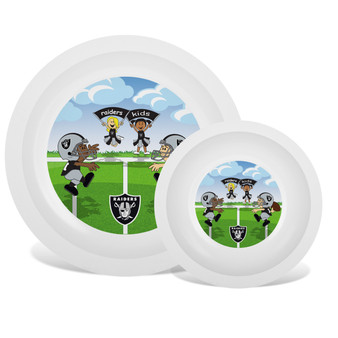 Oakland Raiders White Plate & Bowl Set