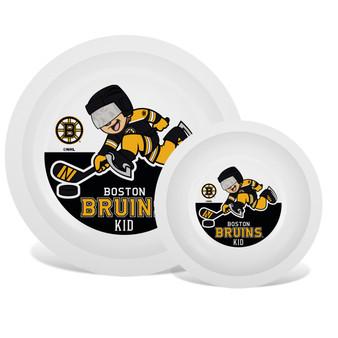 Boston Bruins White Plate & Bowl Set