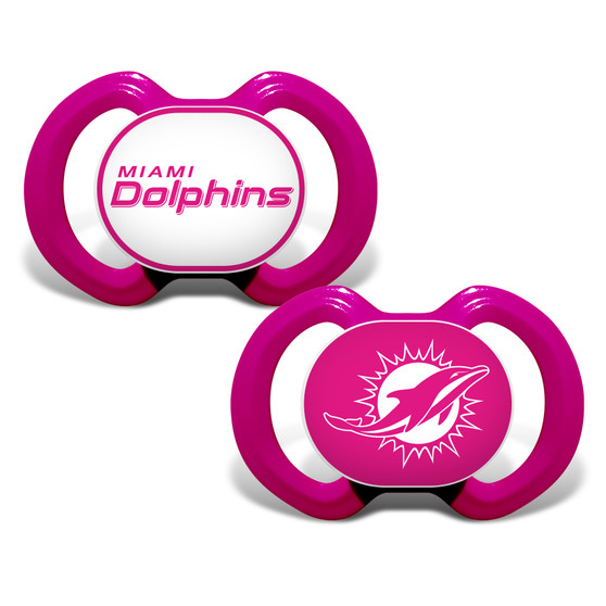 Miami Dolphins 2-Pack Pink Pacifier
