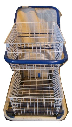 Blue Two Tier Wire Tray Trolley (6DF-316-845)