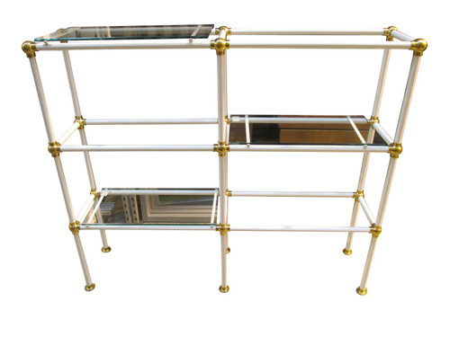 White Metal Glass Shelf Unit (053-EDC-C99)
