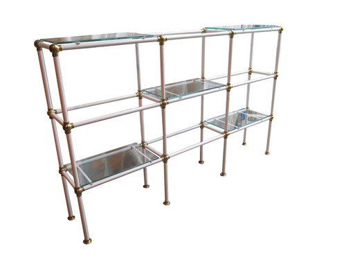 White Metal Glass Shelf Unit (5F5-AAC-C8C)