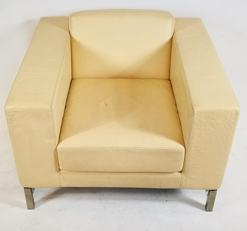 White Leather Sofa Armchair (2CF-A7E-718)