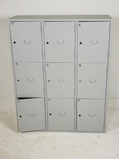 Grey Metal 9 Door Locker Unit (1FD-511-11D)