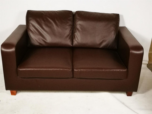 Brown Faux Leather Two Seater Sofa (3F4-648-A07)