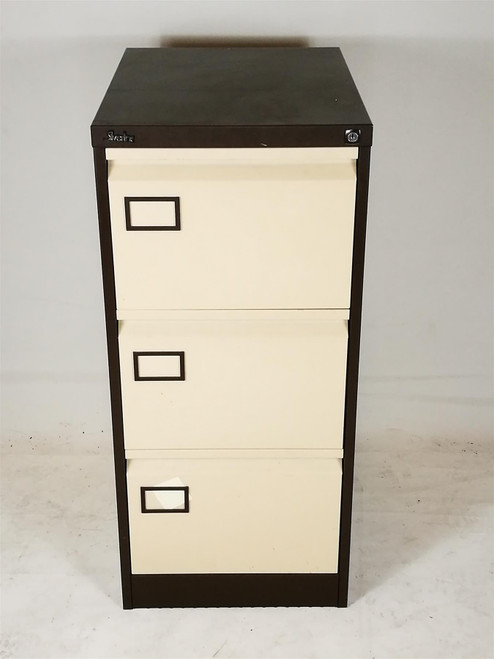 Silverline Brown and Cream 3 Drawer Filing Cabinet (13A-1E3-79D)