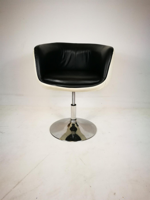 Black/White Leather Swivel Tub Chair (AAD-7D2-288)