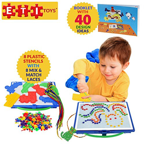 ETI Toys | 368 Piece Lace and Pegs with Board; Design Whale, House, Ship, Bridge, Elephant and More! 100% Non-Toxic, Fun, Creative Skills Development! Best Gift, Toy for 3, 4, 5 Year Old Boys and Girl