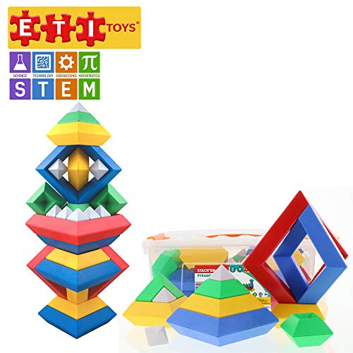 ETI Toys | STEM Learning | 30 Piece Stack'em Pyramid; Build Tree, Owl, Lighthouse, Endless Designs! 100% Non-Toxic, Fun, Creative Skills Development! Best Gift, Toy for 3, 4, 5 Year Old Boys and Girls
