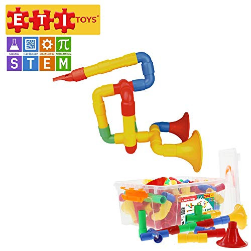 ETI Toys | STEM Learning | 72 Piece Tubes'N'Tunes; Build Whistles, Flutes, Horns, Endless Designs! 100% Non-Toxic, Fun, Creative Skills Development! Best Gift, Toy for 3, 4, 5 Year Old Boys and Girls.