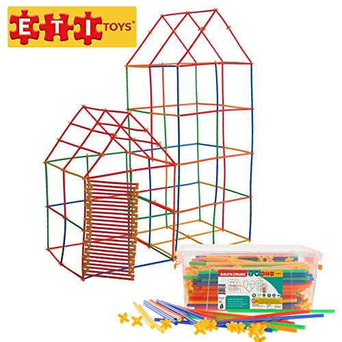 ETI Toys | 425 Piece Build'N Strawz; Build Sailboat, Castle, Rocket, Airplane, Endless Designs! 100% Non-Toxic, Fun, Creative Skills Development! Best Gift, Toy for 3, 4, 5, 6 Year Old Boys and Girls.