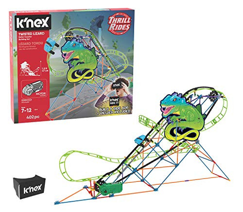 K'NEX Thrill Rides – Twisted Lizard Roller Coaster Building Set with Ride It! App – 403Piece – Ages 7-12 yrs Building Set