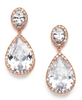 CZ Pear-Shaped Drop Bridal Earrings- Rosegold