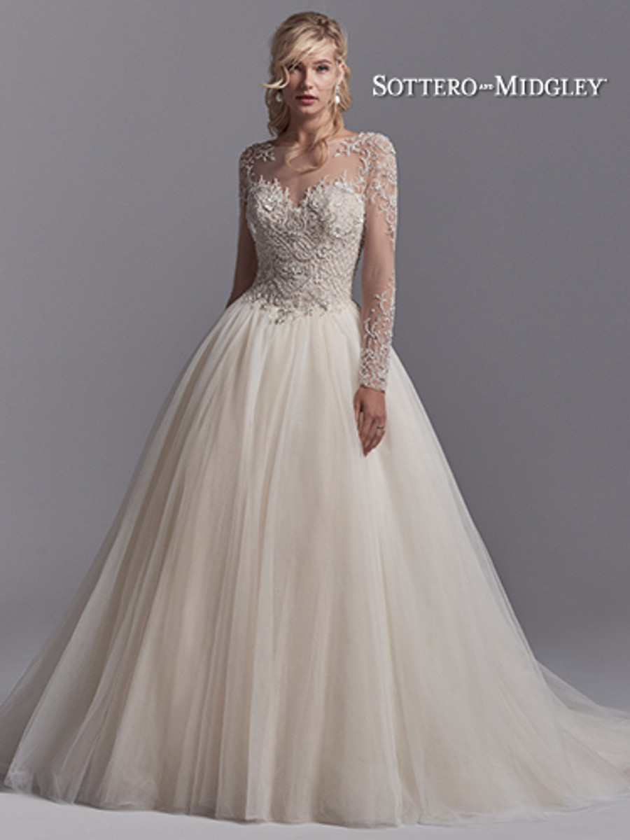 Long Sleeved Wedding Dresses.Sottero And Midgley Wedding Dress Calvin