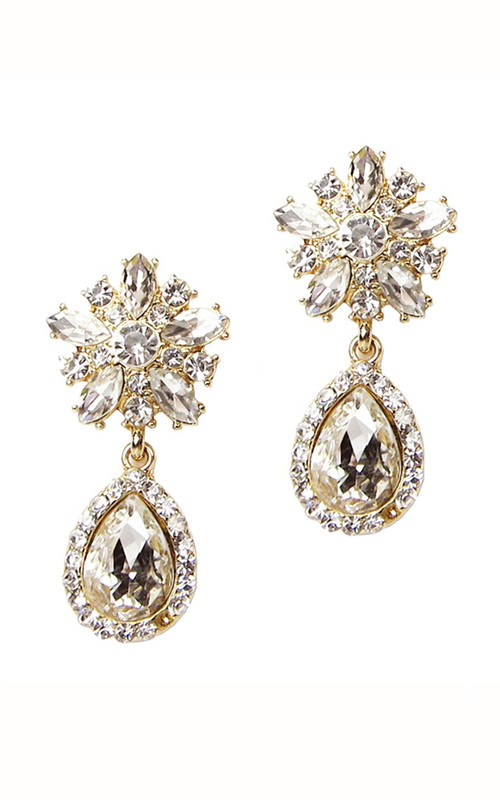 Crystal Bloom Earring-Gold