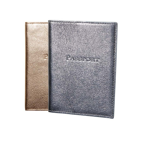 Silver & Gold Leather Passport Holder