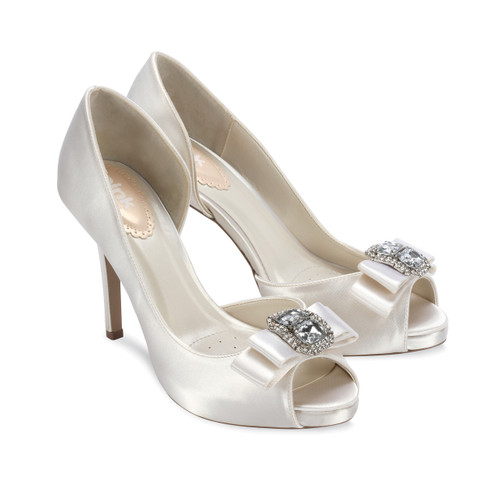 Hot Dyeable Satin Open Toe Pump