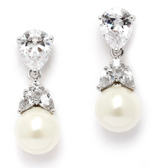 CZ Bridal Earrings with Mixed Pears and Pearl Drops