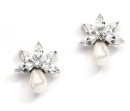 Dainty CZ Bridal Earrings with Freshwater Pearls