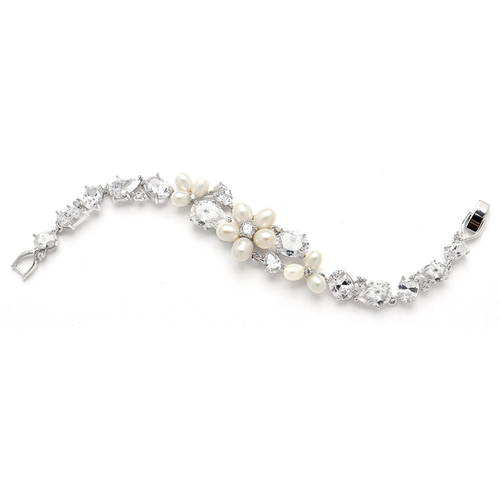 Ravishing Genuine Freshwater Pearl and CZ Statement Bracelet