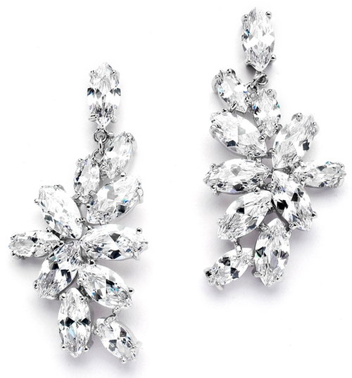 CZ Cluster Wedding Earrings with Marquis Leaves