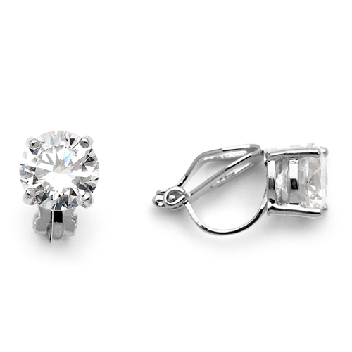 Clip-On Earrings with 2 Carat 8mm CZ Solitaire