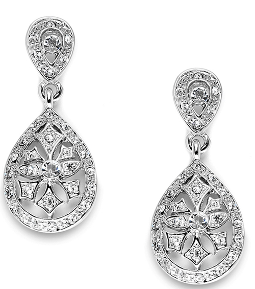 Vintage Etched CZ Drop Earrings
