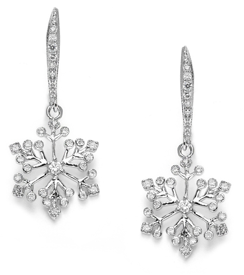 Winter Wedding Cubic Zirconia Snowflake Earrings