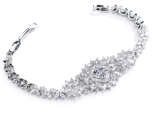 Dramatic CZ Bridal Bracelet with Cushion Cut Center