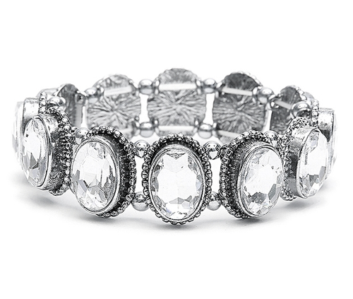 Antique Silver Vintage Ovals Crystal Stretch Bracelet