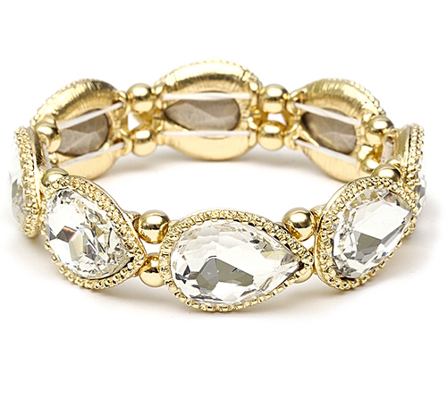 Textured Frame Crystal Pears Stretch Bracelet-Gold