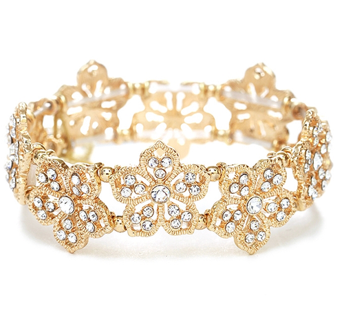 Filigree Flowers Stretch Bracelet-Gold