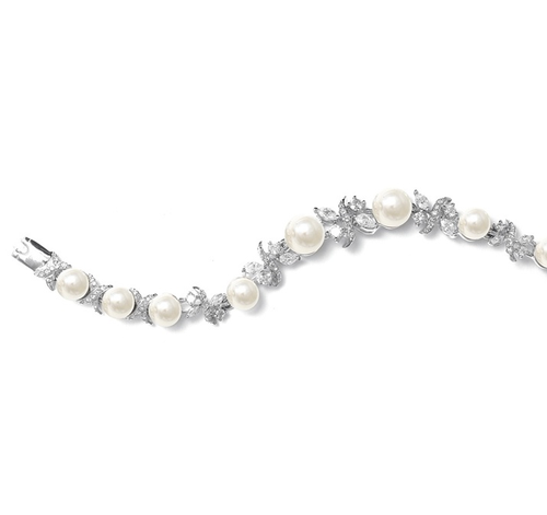 Luxurious Pearl and CZ Bridal Bracelet