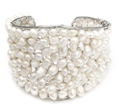 Exotic Freshwater Pearl Bridal Cuff Bracelet