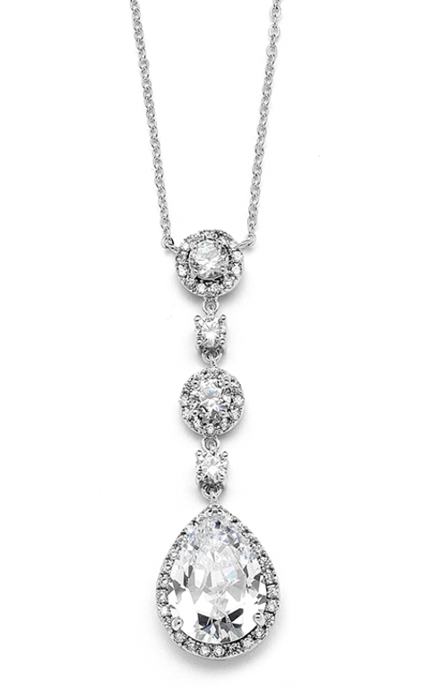 Pear-shaped Drop Bridal Necklace with Pave CZ