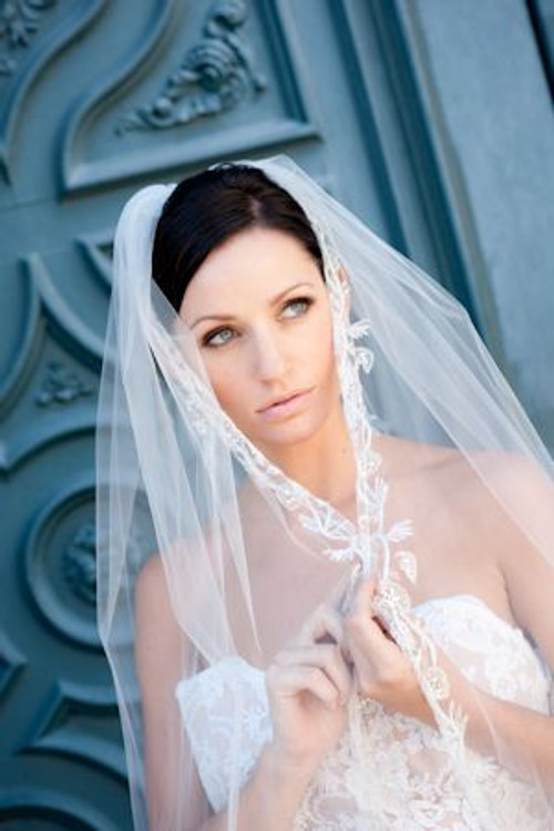 "Justine M Couture Frosted Rose 53"" Veil"