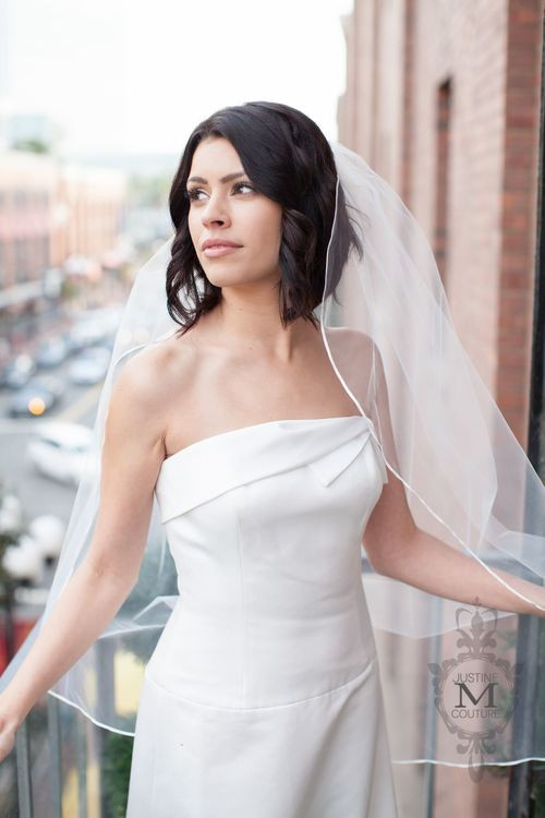 Justine M Couture Blaise Veil with organza trim