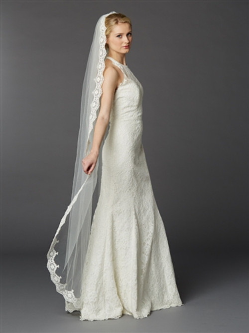 Floor or Chapel Length Mantilla Lace Bridal Veil