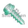 8-18X1/2  Slot Indent Hex washer Self Drilling Screw Full Thread Zinc Bake Green (Box Qty 10000)  BC-0808KSWG
