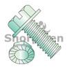 8-32X1/4  Slotted Indent Hex Washer Head Serrated Machine Screw Full Thread Zinc Green (Box Qty 10000)  BC-0804MSWSG