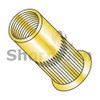 M6X1.0X3.20  Metric Thin Head Round Open-End Ribbed Rivet Nut Steel Zinc Yellow Zinc (Box Qty 2000)  BC-LS-M63.20SY