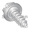12-14X1 1/2  Indent Hex Washer Slot Self Tap Screw AB Serrated Full Threaded 18-8 Stainless St (Box Qty 1000)  BC-1220ABSWS188