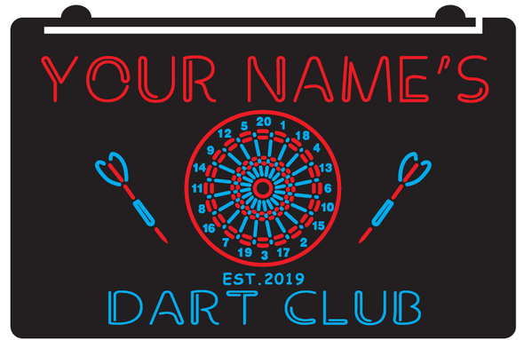 2 Color Your Name's Dart Club LED Sign